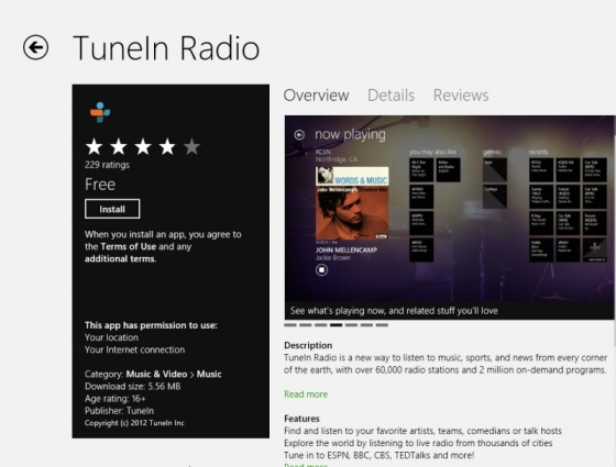 Screenshot tunein radio