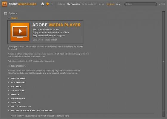 Screenshot adobe media player