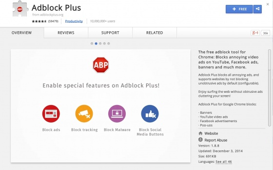 Screenshot adblock plus