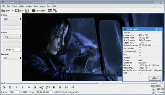 Screenshot avidemux
