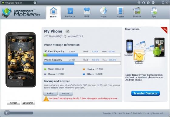 Screenshot wondershare mobilego