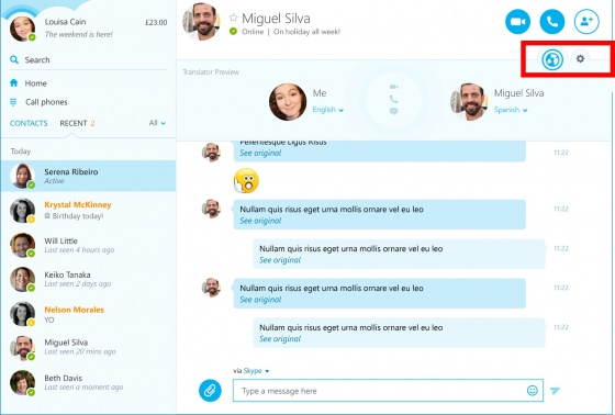 Screenshot skype translator