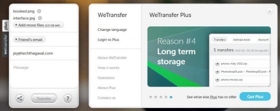 Screenshot wetransfer