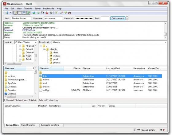 Screenshot filezilla