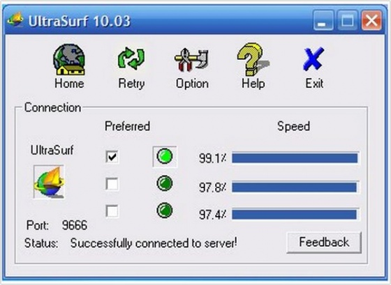 Screenshot ultrasurf